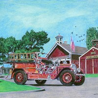 Jack Mays Artwork Firetruck Colored pencil drawing by Jack Mays, image courtesy of Carrie Grant