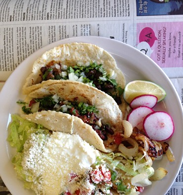 Tacos and flautas at La Partia Solis. - JENNIFER FUMIKO CAHILL