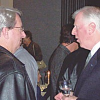 Unlike Mike Former Pacific Lumber CEO Robert Manne and Rep. Mike Thompson at a Democratic Party event at the Eureka Inn on Nov. 10, 2003. Between Nov. 2002 and Dec. 2005, Manne personally donated a total of $3,000 to Thompson's campaign committee. Photo by Hank Sims.