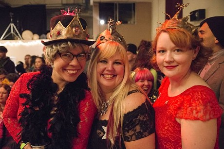 Former queens G-Ma (left) and Dinah Might (right) flank reigning queen Glitterina during the 2015 Rutabaga Ball at Redwood Raks World Dance Studio in Arcata. - MARK MCKENNA