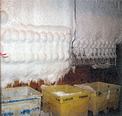 Freezer room with coil frost. Photo from EPA draft report.