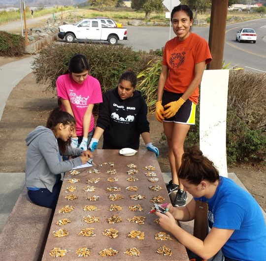 FUHS APES team counting cigarette butts. - PHOTO COURTESY PAM HALSTEAD