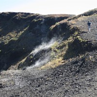 Fumaroles on the rim of Paricutín crater are reminders of recent volcanic activity.
