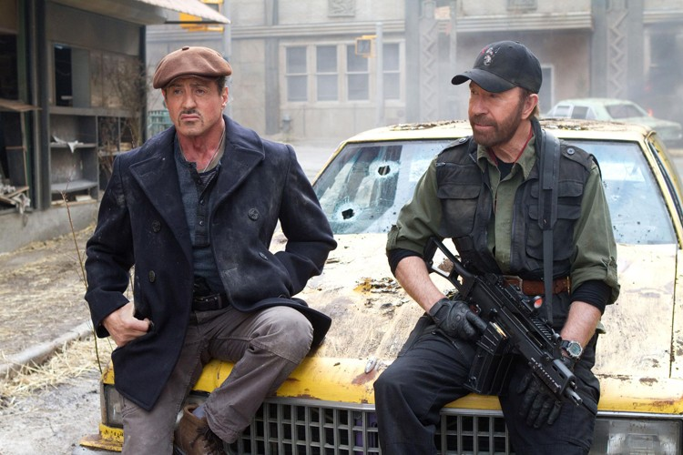 Geezers with guns: Sylvester Stallone, age 66, and Chuck Norris, 72, in The Expendables 2.