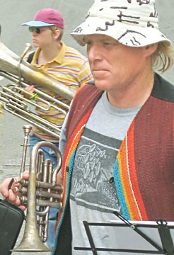 Gregg Moore leads Bandemonium, performing Mardi Gras music Saturday at Arcata Playhouse. Photo by Bob Doran.