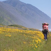The Fireball Happier times on the Lost Coast: Louisa on Spanish Flat, spring 2007. Photo courtesy of Barry Evans and Louisa Rogers