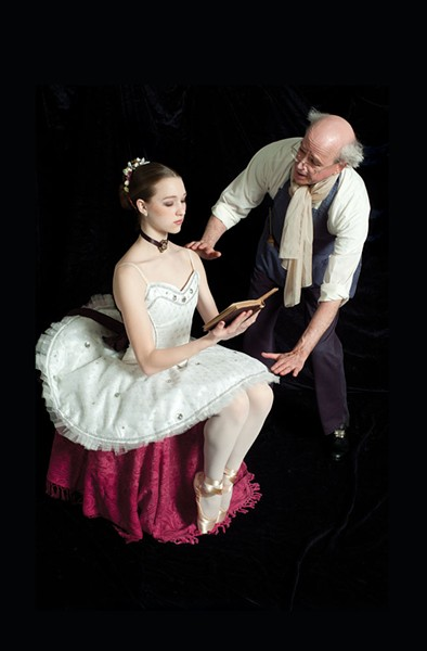Harmony Sorter as Swanhilda dressed up as Coppelia, and Mark Hapgood as Dr. Coppélius in Coppélia - PHOTO BY KEN MIERZWA