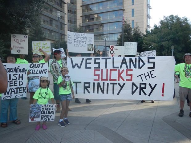Hoopa Valley Tribal members protest the hold on a Trinity River release. - COURTESY HOOPA VALLEY TRIBE