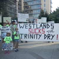 Hoopa Valley Tribal members protest the hold on a Trinity River release.