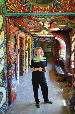 PHOTO BY GRANT SCOTT-GOFORTH - HSU President Lisa Rossbacher is particularly enamored with a wild hall inside the university's art department.