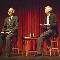 Campus In Crisis HSU President Rollin Richmond, left, and interim Provost Bob Snyder speak at the Van Duzer Theatre Friday.