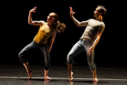 "PHOTO BY TODD ROSENBERG, COURTESY OF HUBBARD STREET DANCE CHICAGO - Hubbard Street Dancers Penny Saunders and Pablo Piantino in Ohad Naharin's ""THREE TO MAX."""