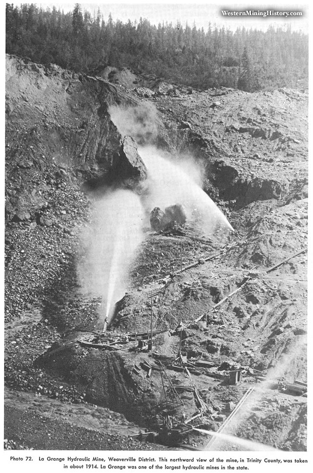 """hydraulic mining at la grange mine - PHOTO FROM """"GOLD DISTRICTS OF CALIFORNIA"""" CALIFORNIA DIV. OF MINES AND GEOLOGY/WESTERNMININGHISTORY.COM"""