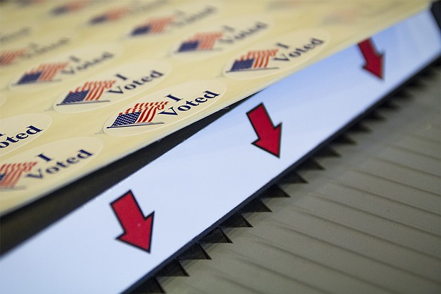 """I Voted"" stickers await voters after they submit their ballots in the voting machine at Arcata City Hall - MANUEL J. ORBEGOZO"
