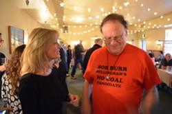 """Incumbent 4th District Supervisor Virginia Bass talks with a visiting Washington state resident who happened to be eating at Sea Grill. Bass is pleased -- but """"cautiously optimistic"""" -- with the early returns from the Humboldt County Elections Office."""