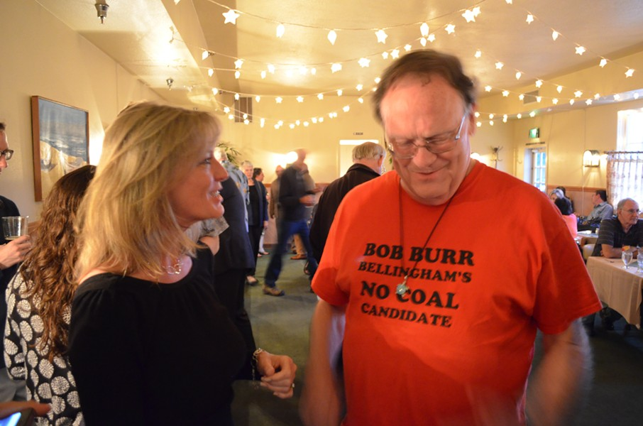 "Incumbent 4th District Supervisor Virginia Bass talks with a visiting Washington state resident who happened to be eating at Sea Grill. Bass is pleased -- but ""cautiously optimistic"" -- with the early returns from the Humboldt County Elections Office."