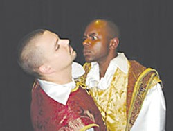 Jabari Morgan, as Othello, glowers at A.J. Stewart, as Iago, in the Shake the Bard production of Othello.