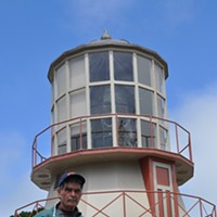 Jack Mays Photos Jack Mays and the lighthouse he chained himself to in 2010 at the Humboldt County Fairgrounds to protest the U.S. Coast Guard's plan to take away the historic Fresnel lens for preservation. Photo courtesy The Ferndale Enterprise/Caroline Titus