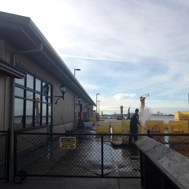The restaurant will look over a fish-loading dock to the bay beyond. - PHOTO BY HEIDI WALTERS
