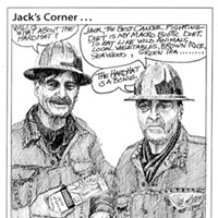 Jack Mays Editorial Cartoons Jan. 20, 2005 -- Self-portrait, with Jack Mays and Willis Hadley. Cartoon by Jack Mays and explanation by Caroline Titus, courtesy of The Ferndale Enterprise