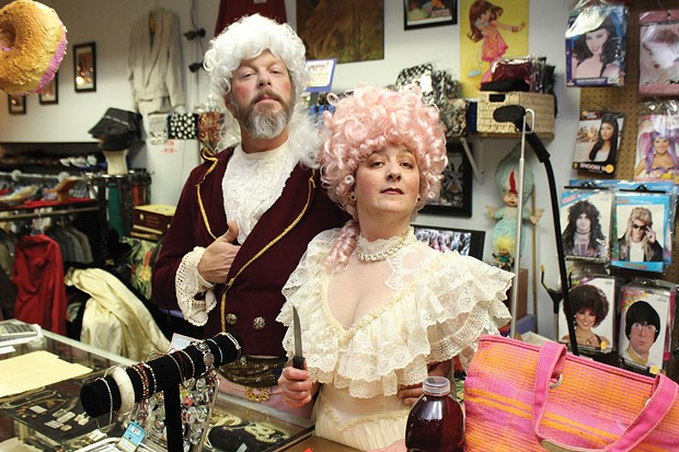Jane Williams-Eichensehr, owner of Bang Bang Vintage in Arcata, and her husband Sven Eichensehr-Williams, dress to the nines for an Arts! Arcata opening. Later they will sit for a formal portrait down the street at Daisy Drygoods. - PHOTO BY BOB DORAN