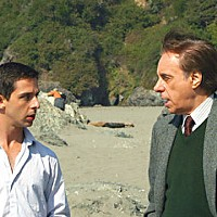 In The Green Room Jeremy Strong and Peter Bogdanovich on location. Photo courtesy of Magnolia Pictures.