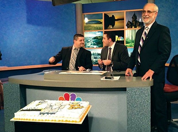 Jim Bernard (standing) on his last day at KIEm-TV - PHOTO COURTESY OF KAY RECEDE