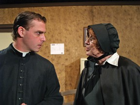 Josh Kelly as Father Flynn and Janet Waddell as Sister Aloysius in North Coast Rep production of Doubt: A Parable.