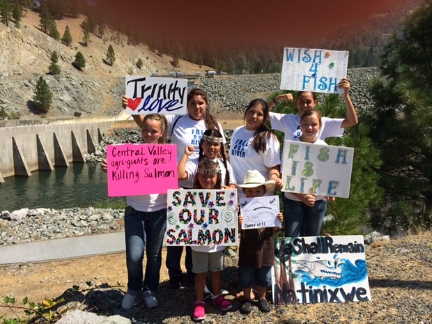 There was a Hoopa rally at Lewiston Dam today. - PHOTO COURTESY VIV ORCUTT
