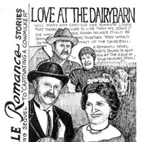 "Jack Mays Editorial Cartoons July 3, 2003 -- Local dairy farmers Pete and Mary Ann Bansen. One of the ""romance novel cartoons"" inspired by ""Captivating a Cowboy,"" a Harlequin romance novel set in Ferndale. Cartoon by Jack Mays and explanation by Caroline Titus, courtesy of The Ferndale Enterprise"