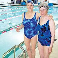Pool Stories Junie Speier and Ina Harris at the Eureka High pool.  Photo by Heidi Walters.