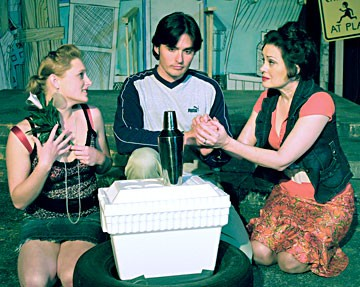Katie Sutter as Helena, David Carter as Bertram and Gloria Montgomery as the Countess in NCRT's production of Shakespeare's All's Well That Ends Well in a trailer park setting. Photo courtesy of