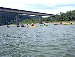 Kayaking the Lower Klamath at the Route 101 bridge. Photo by Barry Evans