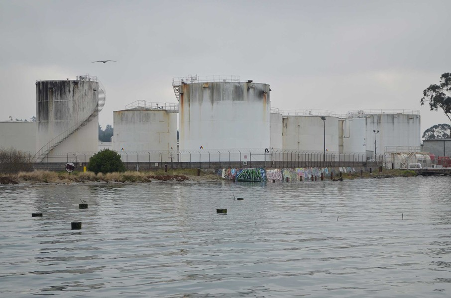 Water laps at the Chevron Terminal. - GRANT SCOTT-GOFORTH