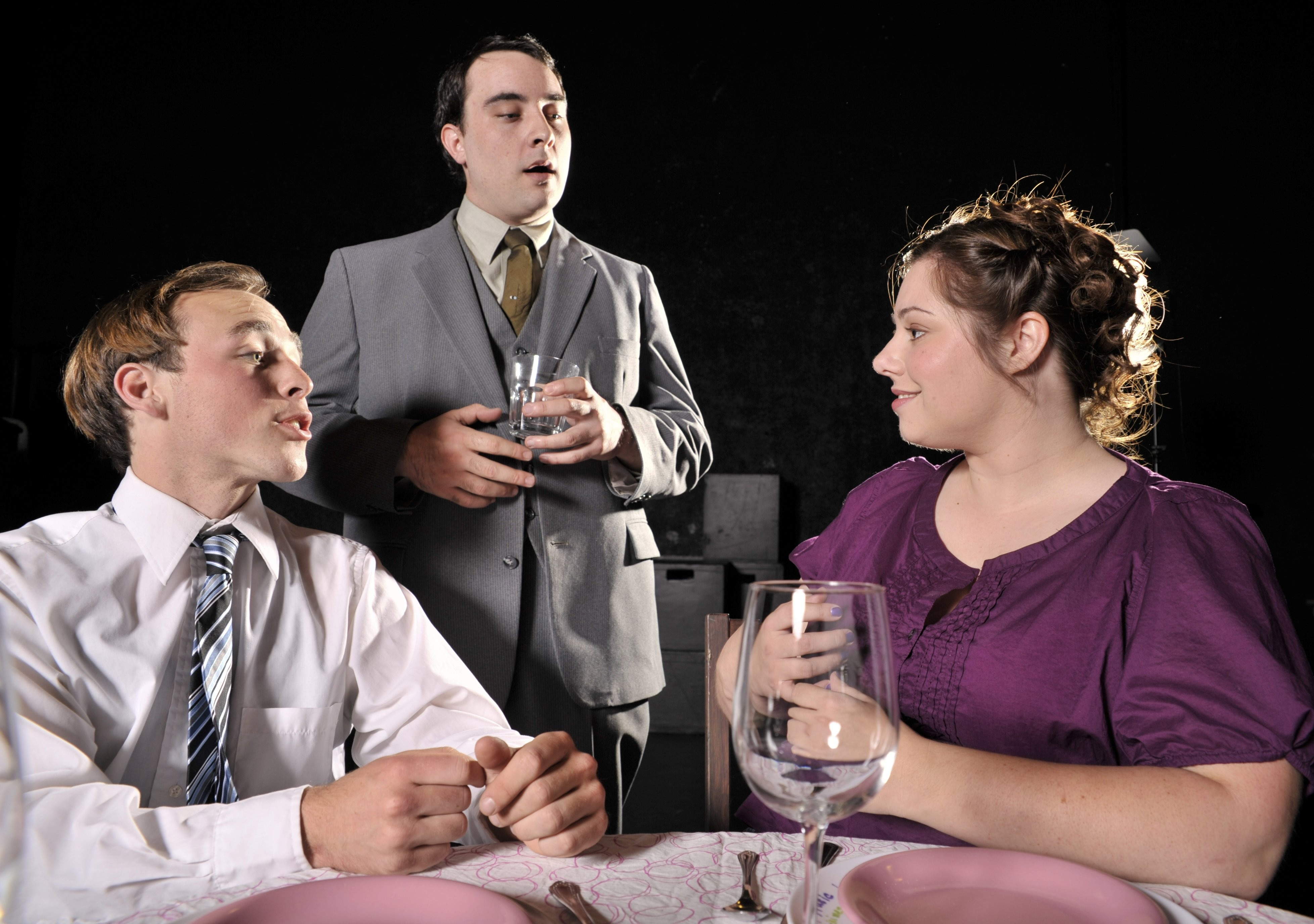 Kyle Ryan as Tom, Brandon McDaniel as Carter, Colleen Lacy as Helen in the HSU's production of Fat Pig - COURTESY OF HSU DEPT. OF THEATRE, FILM & DANCE