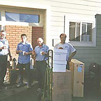 No Work? No Workers! L to R: Humboldt Moving & Storage workers Andrzei Lopag (Poland), Chuck Mahony (USA), Alexander Kozanov (Russia), Zygmunt Nowak (Poland), Marian Sawonik (Poland). Photo courtesy Humboldt Moving & Storage.
