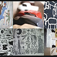 "Inside Out L to R, top to bottom: ""The Internationalists,"" papier-mâché cars, animal figures painted on the outside of Sorensen's house, heiroglyphs, a sketch by the artist on his door, ""The Blue Gurney."" Art by Sorensen, montage by Yulia Weeks."