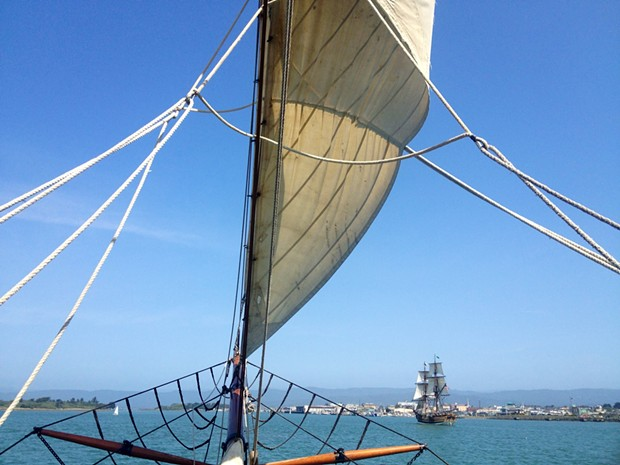 Lady Washington runs from Hawaiian Chieftain in Eureka's Inner Reach - PHOTO BY HEIDI WALTERS