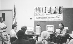 FILE PHOTO. - Larry Goldberg conducts an Internet seminar for Northcoast Electronic Town in 1994.