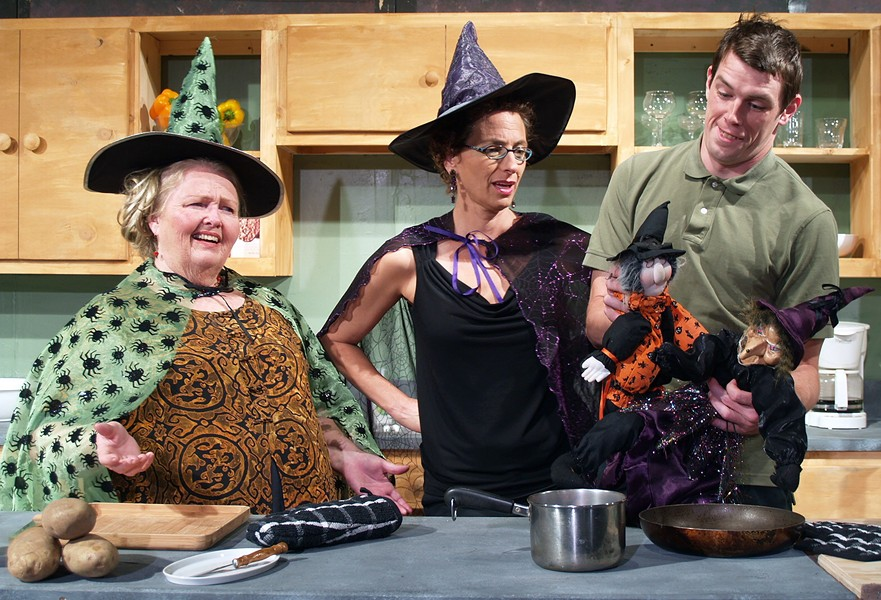 Laura Rose as Dolly, Kathleen Marshall as Isobel, Daniel Kennedy as Stephen in NCRT's The Kitchen Witches - COURTESY OF NCRT