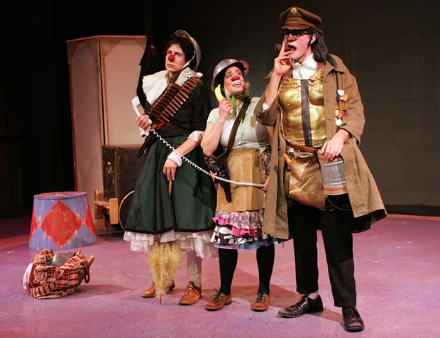 Lauren Wilson, Stephanie Thompson and Joe Krienke star in Dell'Arte's Three Trees: A clown play with rats and guns - PHOTO BY CAROL ECKSTEIN