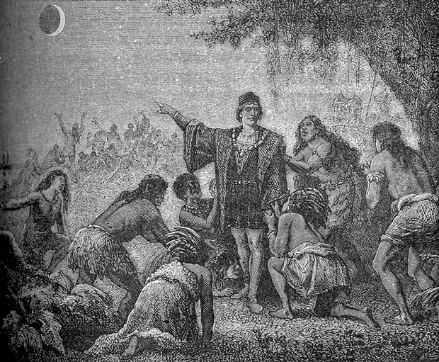 """L'éclipse de lune de Christophe Colomb."" Columbus impressing local Jamaicans by foretelling the June 30, 1503 lunar eclipse. - FROM ASTRONOMIE POPULAIRE 1879, PUBLIC DOMAIN"