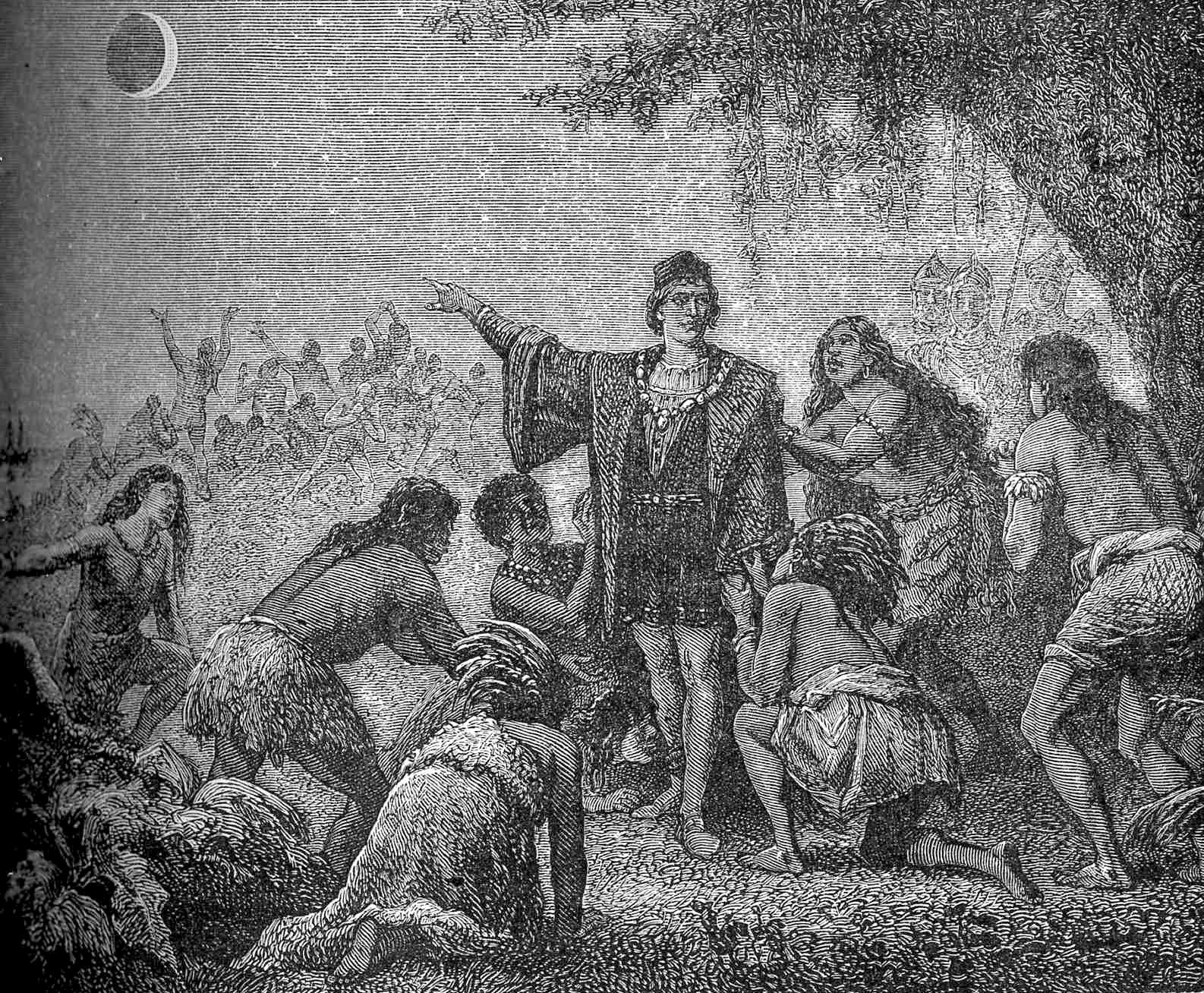 """""""L'éclipse de lune de Christophe Colomb."""" Columbus impressing local Jamaicans by foretelling the June 30, 1503 lunar eclipse. - FROM ASTRONOMIE POPULAIRE 1879, PUBLIC DOMAIN"""