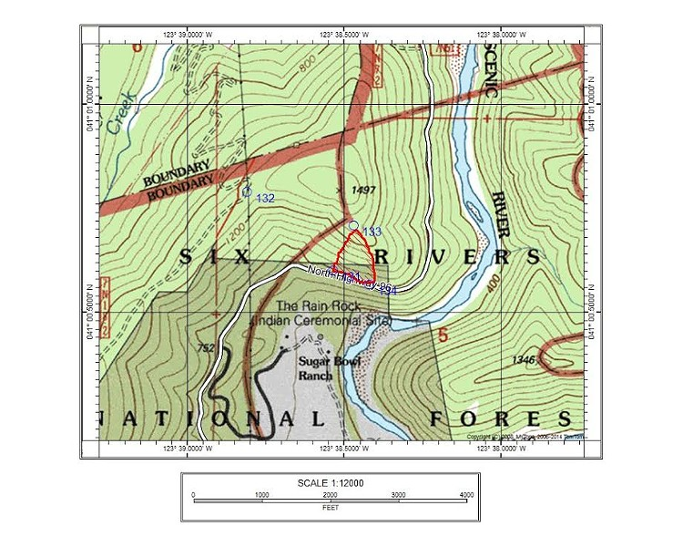 Location of fire above Sugar Bowl Ranch on S.R. 96. - MAP COURTESY SIX RIVERS NATIONAL FOREST