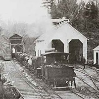 The McKay Tract Logging the McKay Tract in the late 1880's.  The McKay and Company No. 1 Engine has just come through the tunnel from the woods and is heading for the log dump on Humboldt Bay. Photo from Steam in the Redwoods by Carranco and Sorenson.