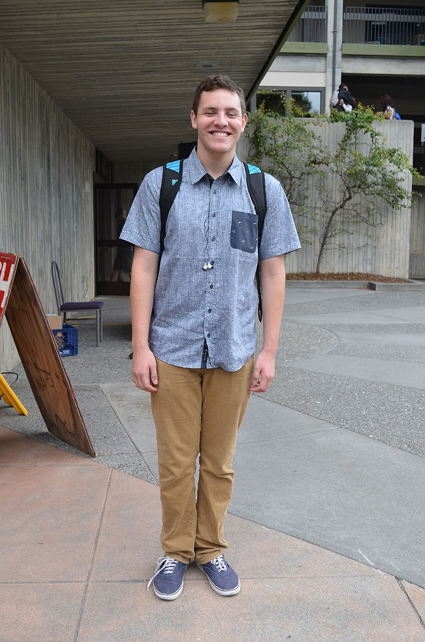 """Los Angeles native and business student Daniel finds the people in Humboldt """"really chill."""" Also chill are his Vans, Tilly's shirt and khakis. - PHOTO BY SHARON RUCHTE"""