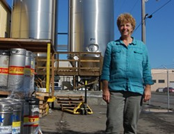 PHOTO BY ANDREW GOFF - Lost Coast Brewery owner Barbara Groom mid-workday.