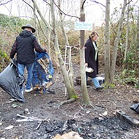 A Gentleman Wanderer Mac McCormick and Kathy Anderson clean Chico's camp. Photo by Heidi Walters