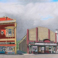 Jack Mays Artwork Main Street Triptych Colored pencil drawing by Jack Mays, image courtesy of Carrie Grant