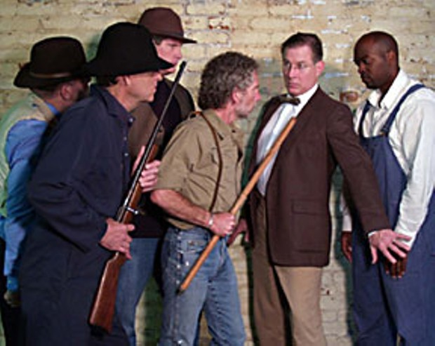 Mark Bruce, Bill Cose, Darren Smallen, Gary Franklin, Brad Curtis and Joseph Waters in Ferndale Rep's To Kill A Mockingbird. Photo by Dan Tubbs.